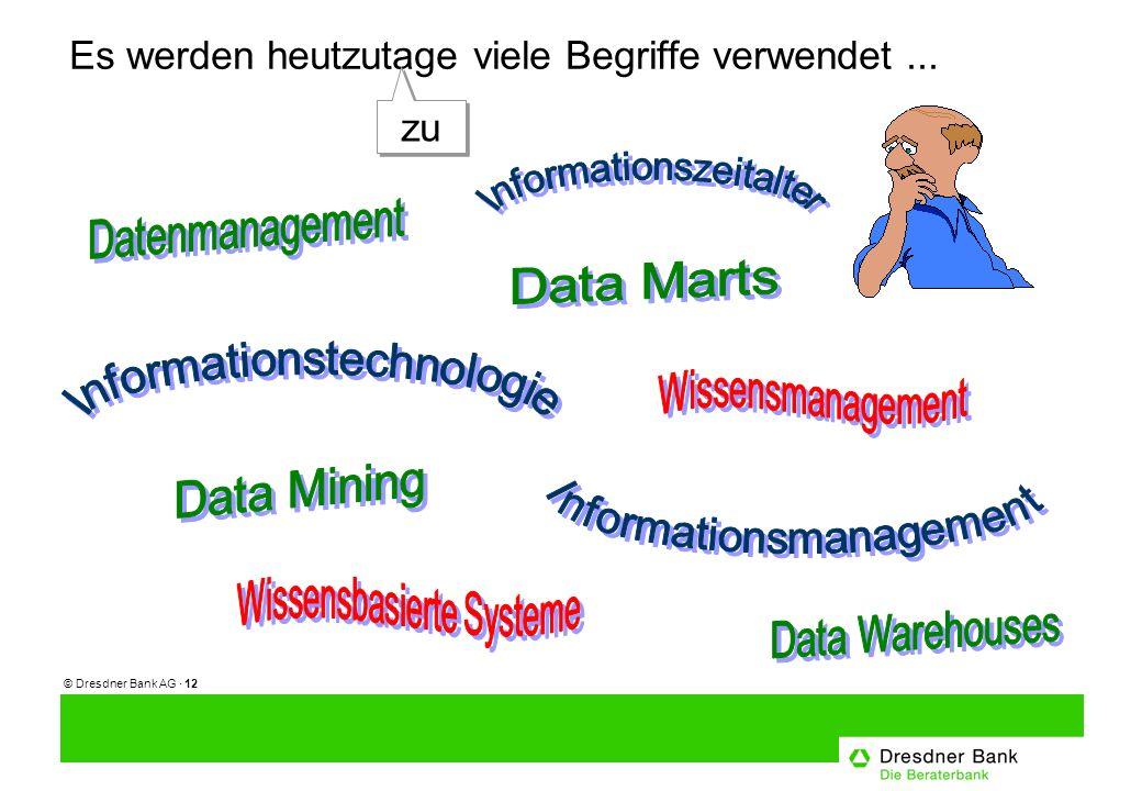 © Dresdner Bank AG · 12 Es werden heutzutage viele Begriffe verwendet... zu