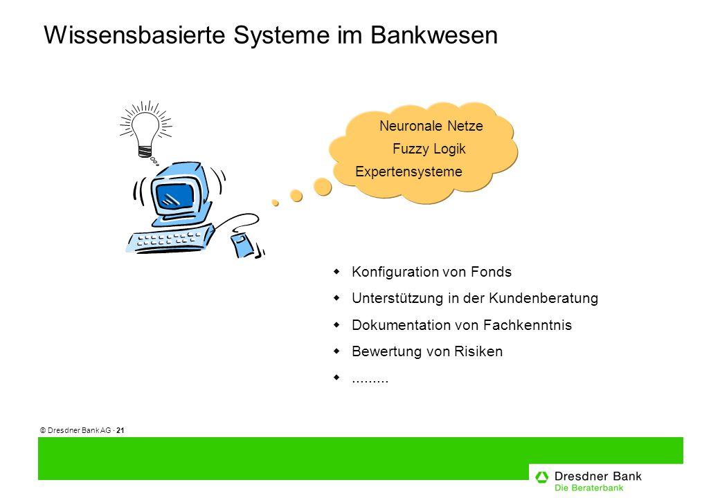© Dresdner Bank AG · 21 Wissensbasierte Systeme im Bankwesen Fuzzy Logik Neuronale Netze Expertensysteme Konfiguration von Fonds Unterstützung in der Kundenberatung Dokumentation von Fachkenntnis Bewertung von Risiken.........