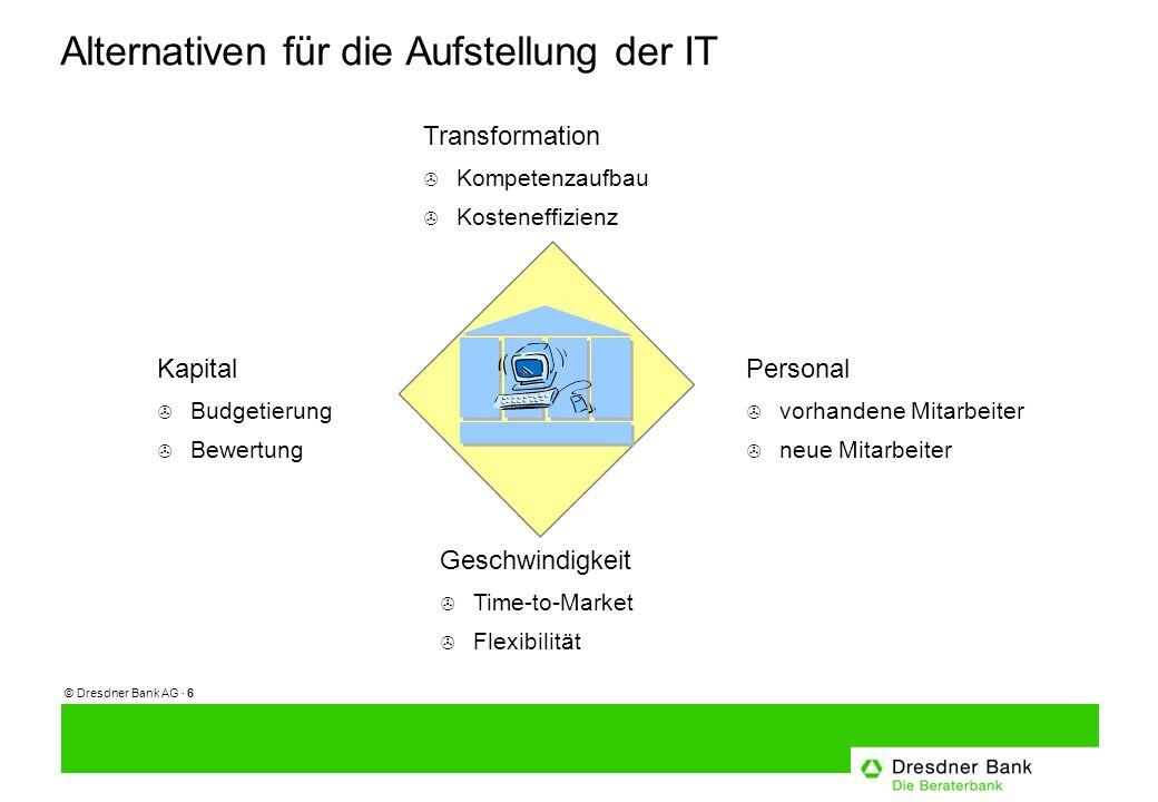 © Dresdner Bank AG · 7 Die Dresdner Bank Lösung > CIO im Leitungsgremium eines jeden Unternehmensbereichs > CIOs der Unternehmensbereiche berichten fachlich an IT Vorstand Sprecher.........
