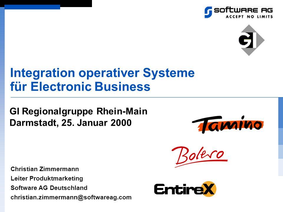 Integration operativer Systeme für Electronic Business Christian Zimmermann Leiter Produktmarketing Software AG Deutschland christian.zimmermann@softw