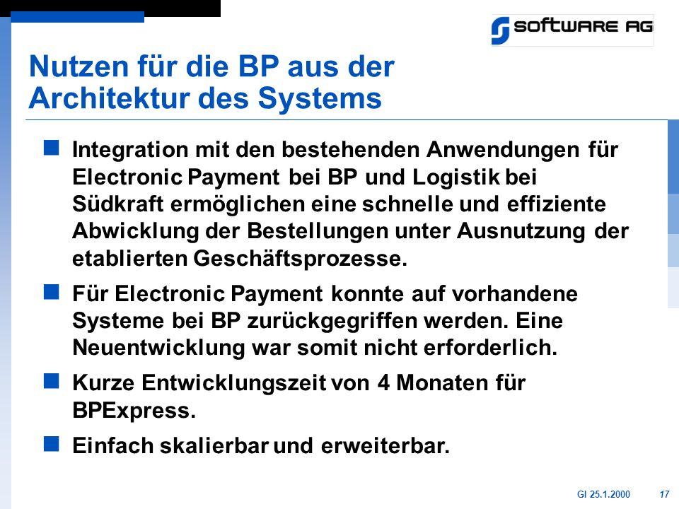 17GI 25.1.2000 Nutzen für die BP aus der Architektur des Systems Integration mit den bestehenden Anwendungen für Electronic Payment bei BP und Logisti