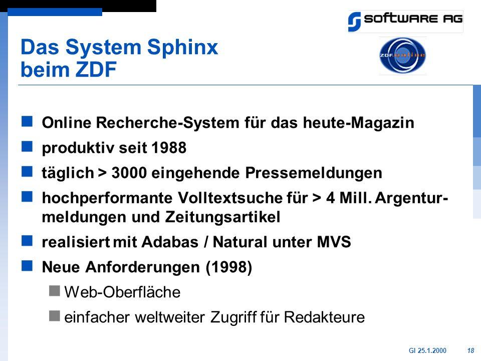18GI 25.1.2000 Das System Sphinx beim ZDF Online Recherche-System für das heute-Magazin produktiv seit 1988 täglich > 3000 eingehende Pressemeldungen