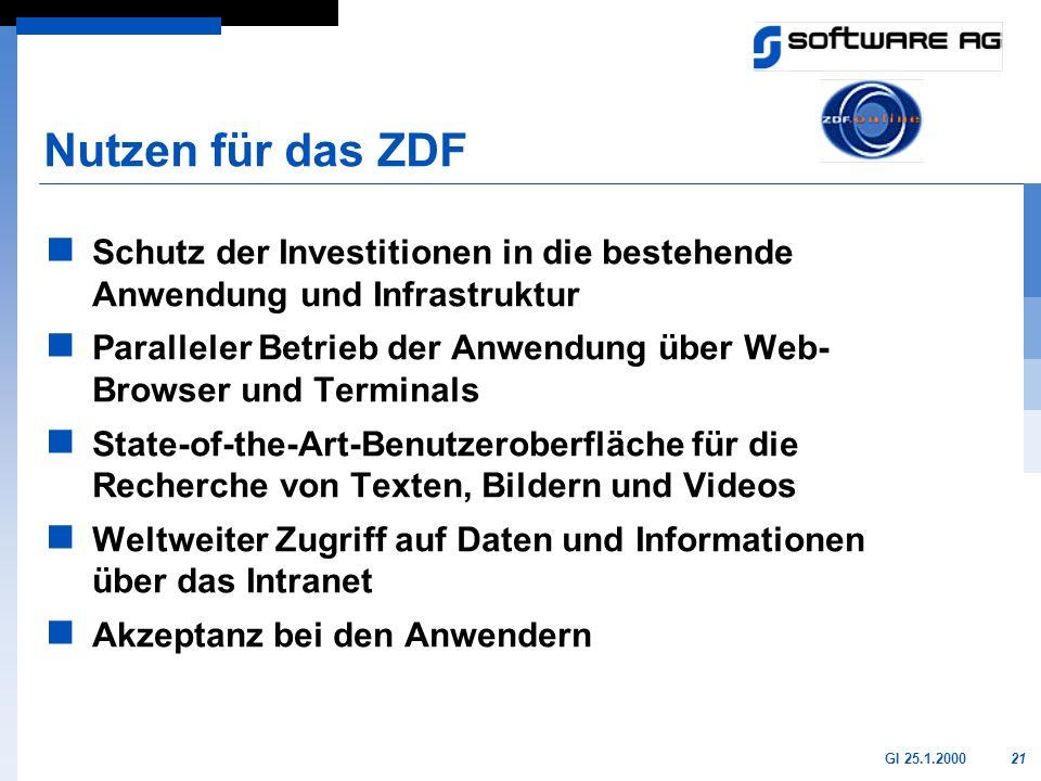 21GI 25.1.2000 Nutzen für das ZDF Schutz der Investitionen in die bestehende Anwendung und Infrastruktur Paralleler Betrieb der Anwendung über Web- Br
