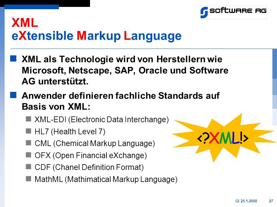 27GI 25.1.2000 XML eXtensible Markup Language XML als Technologie wird von Herstellern wie Microsoft, Netscape, SAP, Oracle und Software AG unterstütz