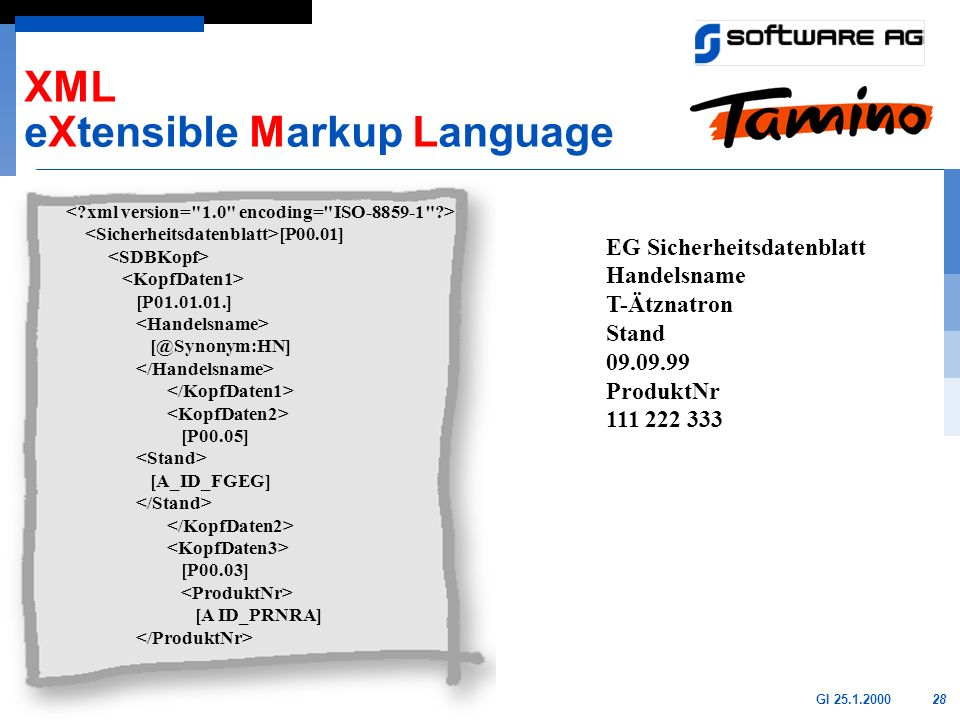 28GI 25.1.2000 [P00.01] [P01.01.01.] [@Synonym:HN] [P00.05] [A_ID_FGEG] [P00.03] [A ID_PRNRA] XML eXtensible Markup Language EG Sicherheitsdatenblatt