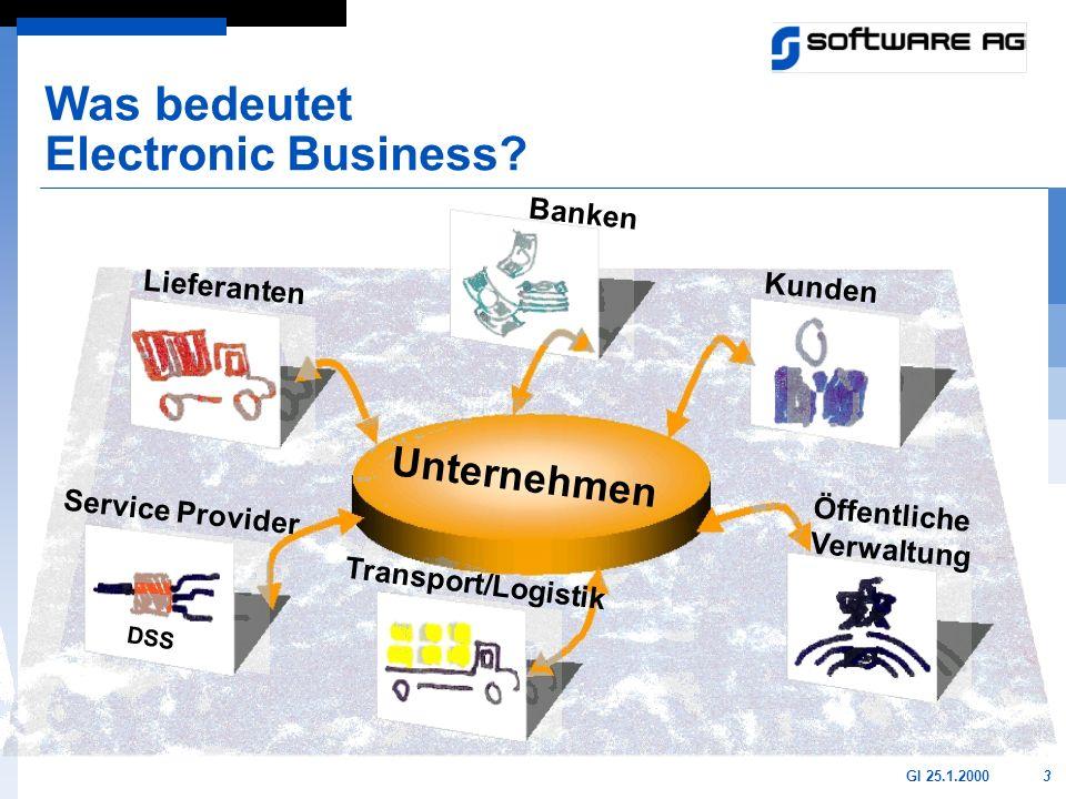 3GI 25.1.2000 Was bedeutet Electronic Business? DSS Banken Kunden Service Provider Lieferanten Transport/Logistik Öffentliche Verwaltung Unternehmen