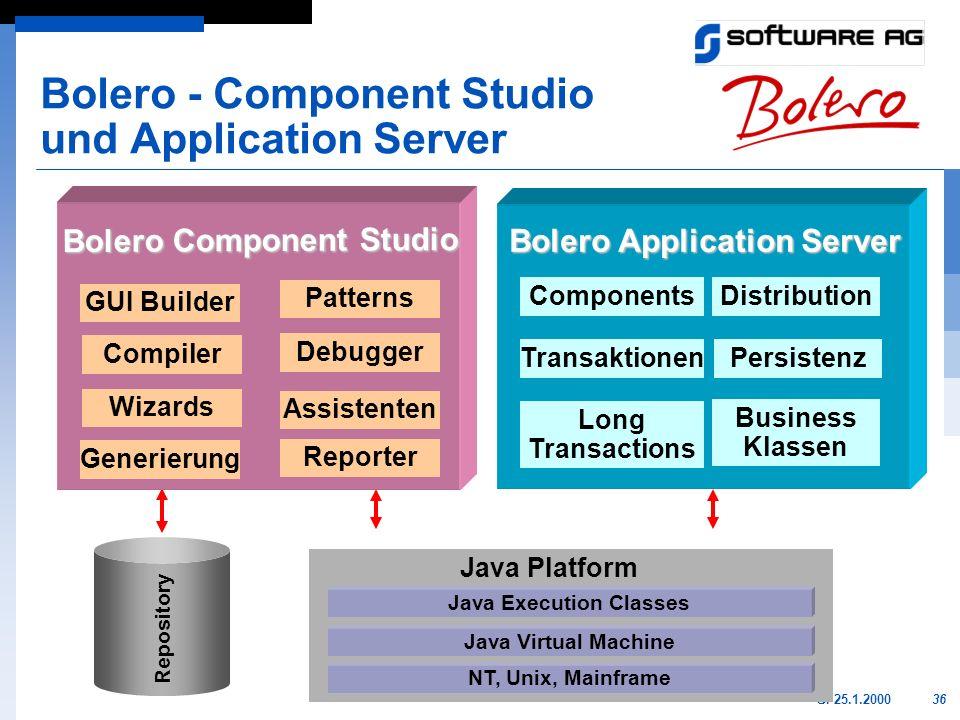 36GI 25.1.2000 GUI Builder Generierung Debugger Patterns Wizards Assistenten Compiler TransaktionenPersistenz ComponentsDistribution Long Transactions