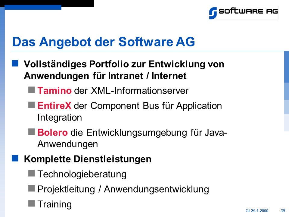 39GI 25.1.2000 Das Angebot der Software AG Vollständiges Portfolio zur Entwicklung von Anwendungen für Intranet / Internet Tamino der XML-Informations