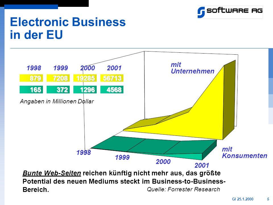5GI 25.1.2000 Bunte Web-Seiten reichen künftig nicht mehr aus, das größte Potential des neuen Mediums steckt im Business-to-Business- Bereich. Quelle:
