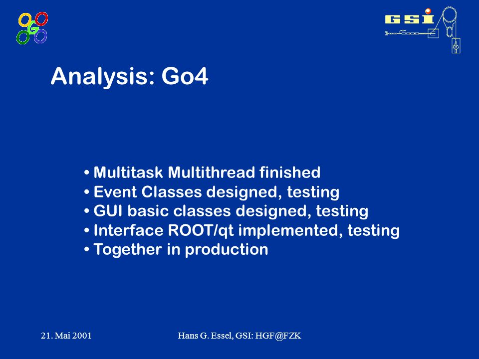 21. Mai 2001Hans G. Essel, GSI: HGF@FZK Analysis: Go4 Multitask Multithread finished Event Classes designed, testing GUI basic classes designed, testi