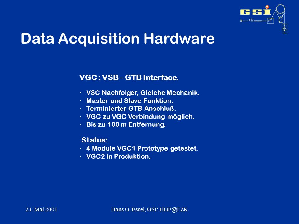 21. Mai 2001Hans G. Essel, GSI: HGF@FZK Data Acquisition Hardware VGC : VSB – GTB Interface. · VSC Nachfolger, Gleiche Mechanik. · Master und Slave Fu
