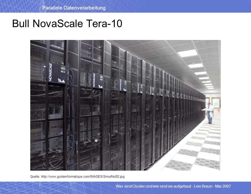 Parallele Datenverarbeitung Was sind Cluster und wie sind sie aufgebaut - Leiv Braun - Mai 2007 Bull NovaScale Tera-10 Quelle: http://www.guideinforma