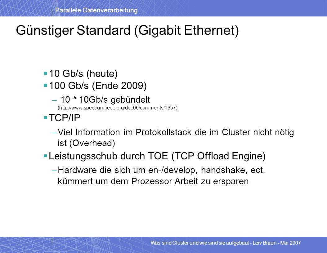 Parallele Datenverarbeitung Was sind Cluster und wie sind sie aufgebaut - Leiv Braun - Mai 2007 Günstiger Standard (Gigabit Ethernet) 10 Gb/s (heute)