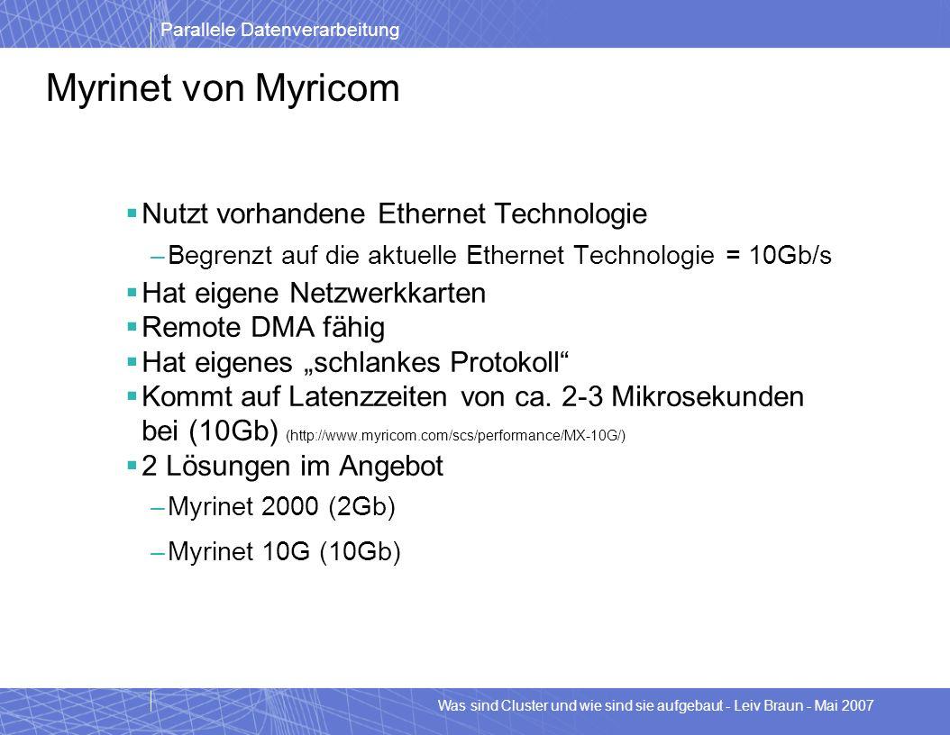 Parallele Datenverarbeitung Was sind Cluster und wie sind sie aufgebaut - Leiv Braun - Mai 2007 Myrinet von Myricom Nutzt vorhandene Ethernet Technolo