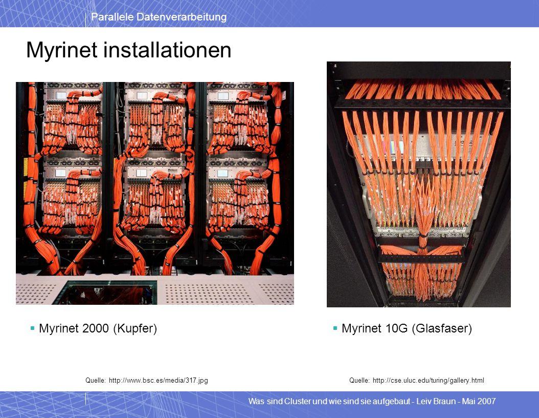 Parallele Datenverarbeitung Was sind Cluster und wie sind sie aufgebaut - Leiv Braun - Mai 2007 Myrinet installationen Myrinet 2000 (Kupfer) Myrinet 1