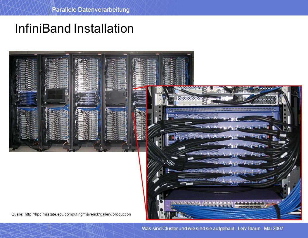 Parallele Datenverarbeitung Was sind Cluster und wie sind sie aufgebaut - Leiv Braun - Mai 2007 InfiniBand Installation Quelle: http://hpc.msstate.edu