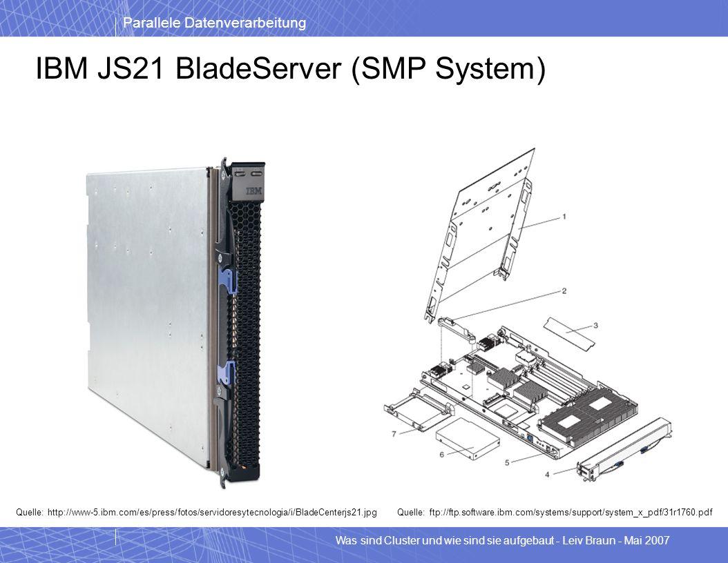 Parallele Datenverarbeitung Was sind Cluster und wie sind sie aufgebaut - Leiv Braun - Mai 2007 IBM JS21 BladeServer (SMP System) Quelle: http://www-5