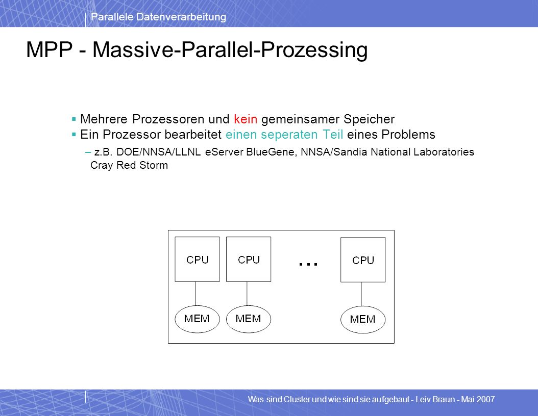 Parallele Datenverarbeitung Was sind Cluster und wie sind sie aufgebaut - Leiv Braun - Mai 2007 MPP - Massive-Parallel-Prozessing Mehrere Prozessoren