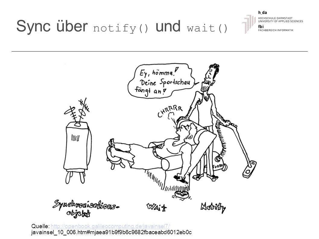Sync über notify() und wait() Quelle: http://openbook.galileocomputing.de/javainsel7/http://openbook.galileocomputing.de/javainsel7/ javainsel_10_006.