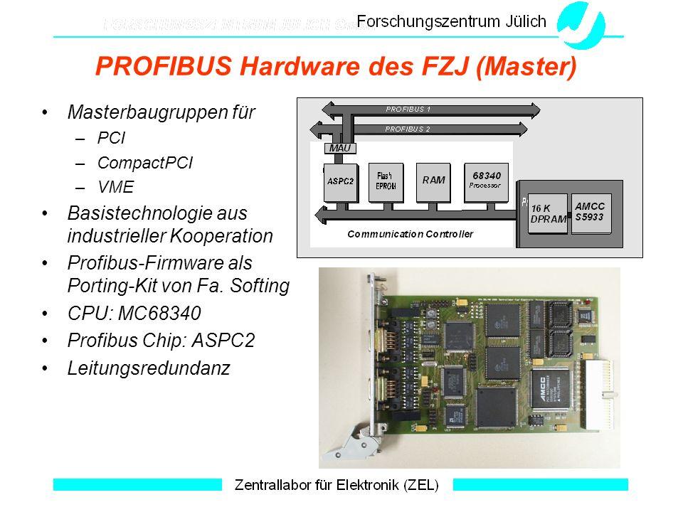 PROFIBUS Hardware des FZJ (Master) Masterbaugruppen für –PCI –CompactPCI –VME Basistechnologie aus industrieller Kooperation Profibus-Firmware als Por