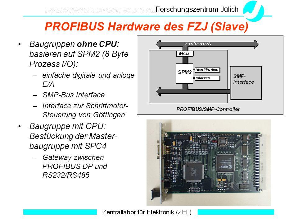 PROFIBUS Hardware des FZJ (Slave) Baugruppen ohne CPU: basieren auf SPM2 (8 Byte Prozess I/O): –einfache digitale und anloge E/A –SMP-Bus Interface –I