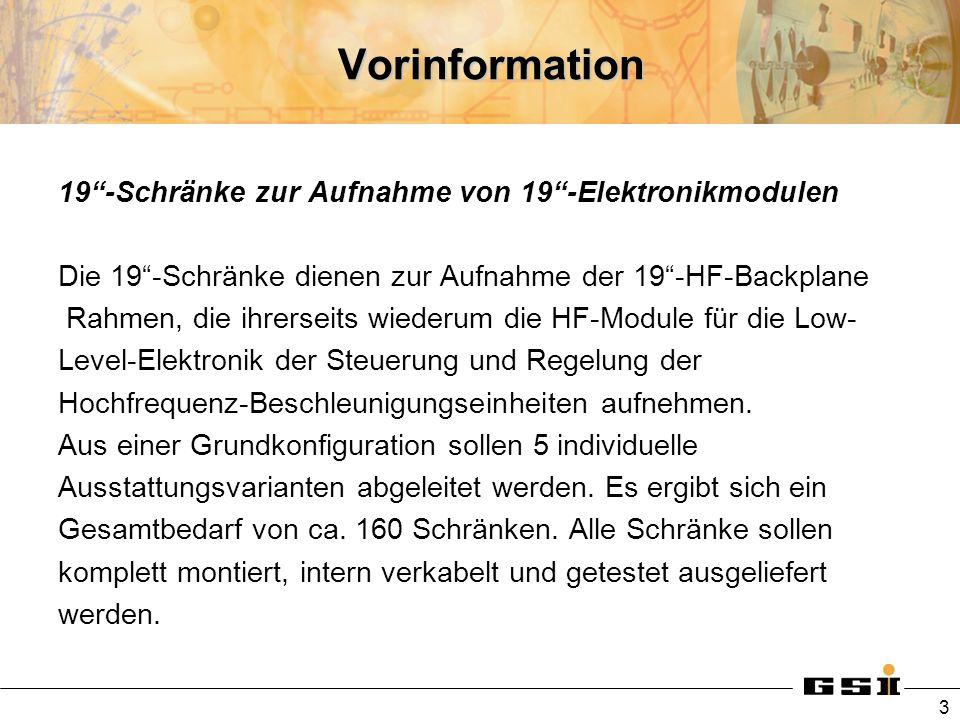 Vorinformation 19-Schränke zur Aufnahme von 19-Elektronikmodulen Vor Beginn der Serienproduktion ist von den 5 Konfigurationen jeweils 1 Exemplar zu Tests und Abnahmen zur Verfügung zu stellen, bevor die Serienproduktion gestartet wird.