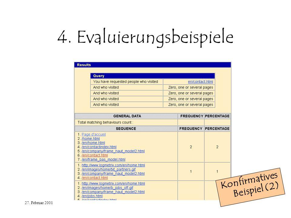 27. Februar 2001 4. Evaluierungsbeispiele Konfirmatives Beispiel (2)