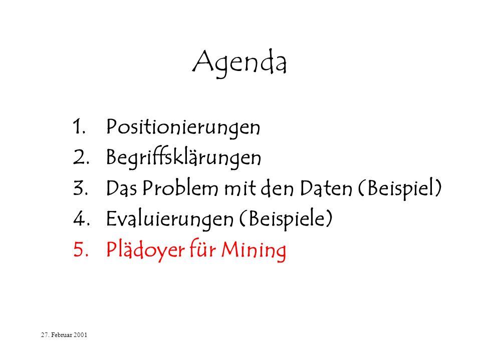27. Februar 2001 Agenda 1.Positionierungen 2.Begriffsklärungen 3.Das Problem mit den Daten (Beispiel) 4.Evaluierungen (Beispiele) 5.Plädoyer für Minin