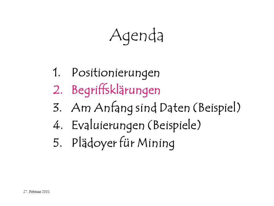 27. Februar 2001 Agenda 1.Positionierungen 2.Begriffsklärungen 3.Am Anfang sind Daten (Beispiel) 4.Evaluierungen (Beispiele) 5.Plädoyer für Mining