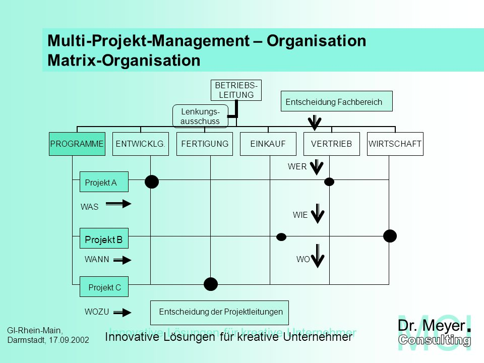 Innovative Lösungen für kreative Unternehmer GI-Rhein-Main, Darmstadt, 17.09.2002 Multi-Projekt-Management – Organisation Matrix-Organisation Projekt