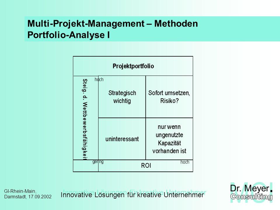 Innovative Lösungen für kreative Unternehmer GI-Rhein-Main, Darmstadt, 17.09.2002 Multi-Projekt-Management – Methoden Portfolio-Analyse II