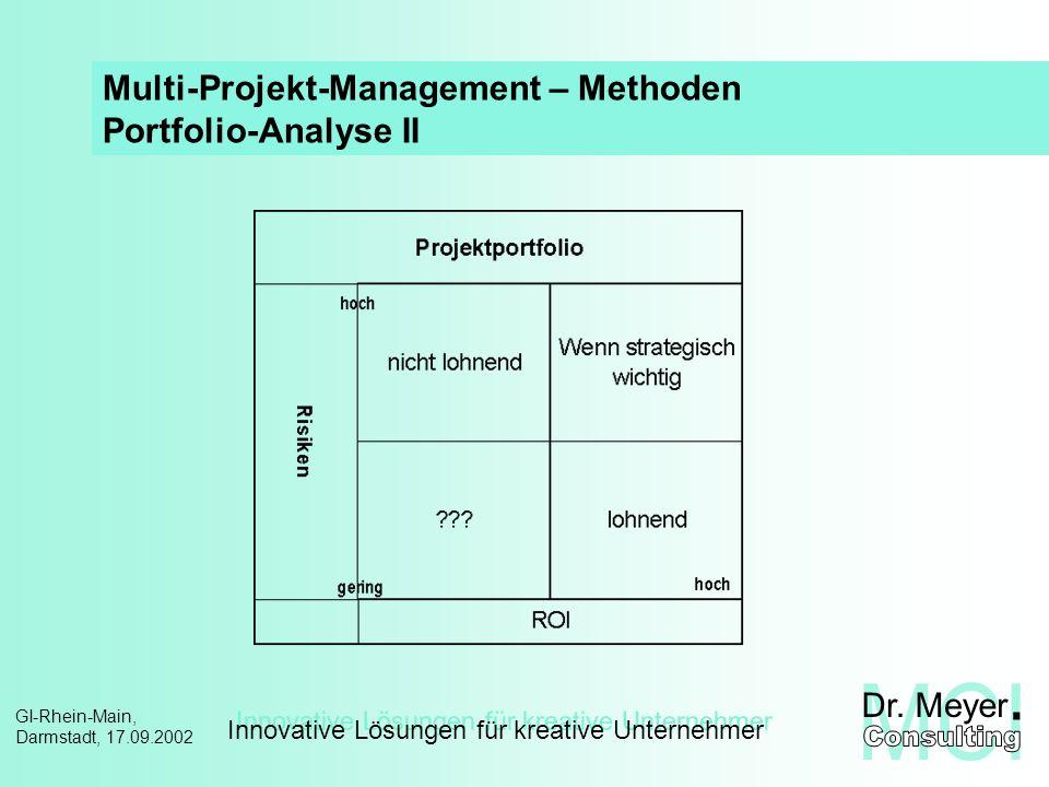 Innovative Lösungen für kreative Unternehmer GI-Rhein-Main, Darmstadt, 17.09.2002 Risiko-Portfolio