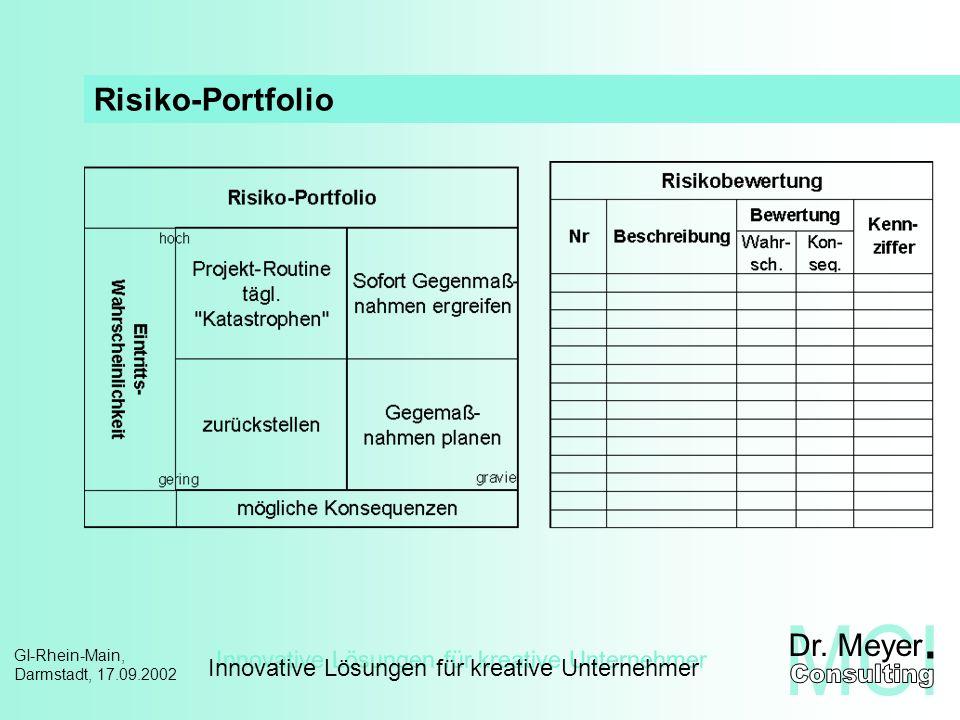 Innovative Lösungen für kreative Unternehmer GI-Rhein-Main, Darmstadt, 17.09.2002 Multi-Projekt-Management – Methoden Portfolio-Analyse III