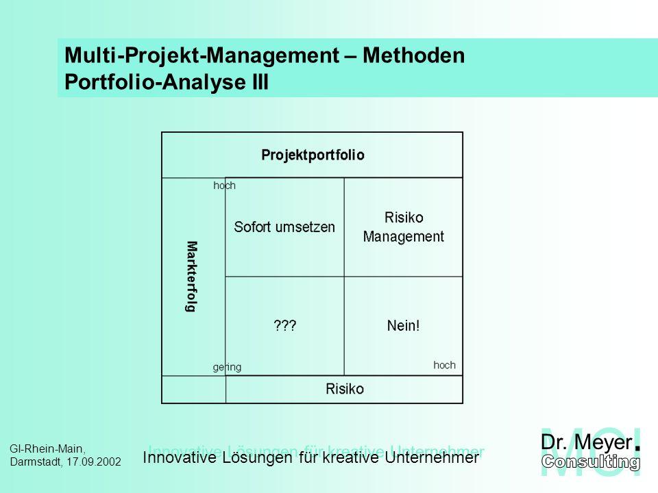 Innovative Lösungen für kreative Unternehmer GI-Rhein-Main, Darmstadt, 17.09.2002 Multi-Projekt-Management PM-Prozess – Handlungsrahmen Führung aufgabenbezogen, zielgerichtet Kommunikation zielgerichtet, offen Controlling steuernd, koordinierend Planung systematisch, umfassend Projekt- Vereinbarung