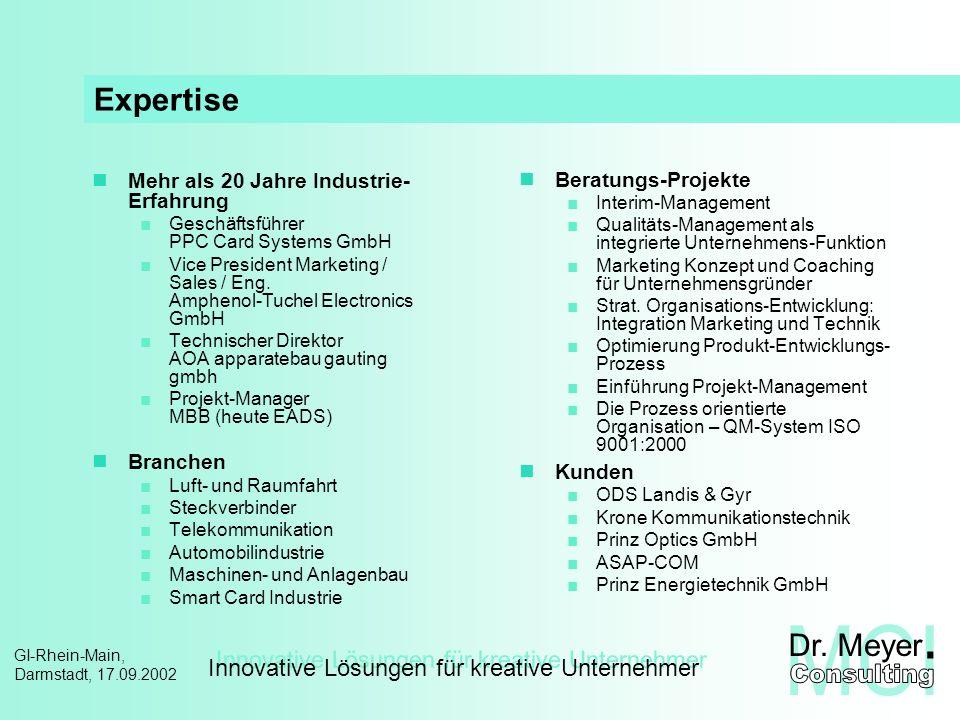 Innovative Lösungen für kreative Unternehmer GI-Rhein-Main, Darmstadt, 17.09.2002 Inhalt Unternehmens-Strategie und Projekte integriertes Projekt-Management Zielgrößen der Projektbewertung Multi-Projekt-Organisation Projektportfolio Handlungsrahmen und Werkzeuge