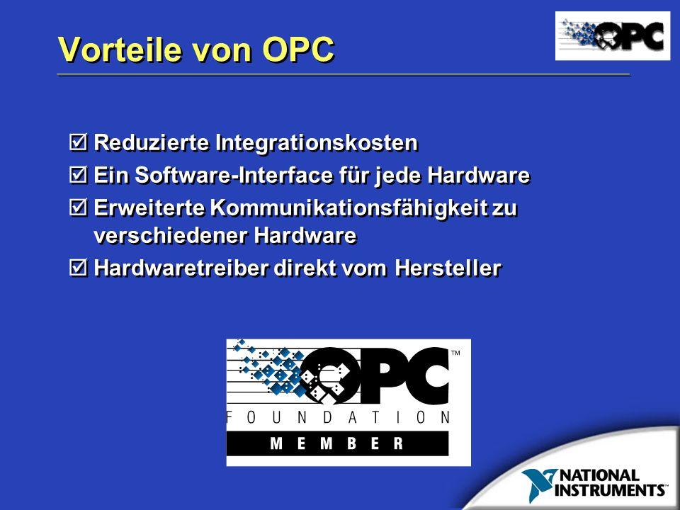 Vorteile von OPC Reduzierte Integrationskosten Ein Software-Interface für jede Hardware Erweiterte Kommunikationsfähigkeit zu verschiedener Hardware H