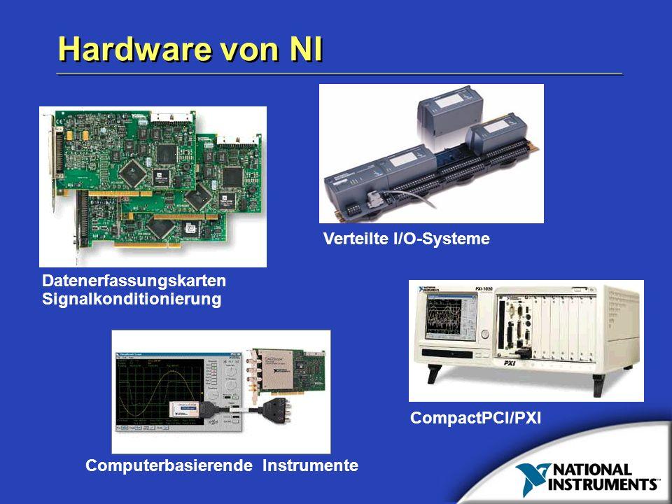 Hardware von NI Computerbasierende Instrumente Datenerfassungskarten Signalkonditionierung Verteilte I/O-Systeme CompactPCI/PXI