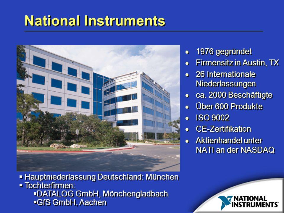 National Instruments 1976 gegründet Firmensitz in Austin, TX 26 Internationale Niederlassungen ca. 2000 Beschäftigte Über 600 Produkte ISO 9002 CE-Zer