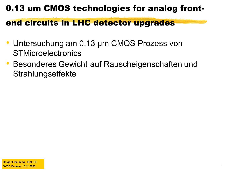 Holger Flemming, GSI, EE DVEE-Palaver, 15.11.2005 5 Massimo Manghisoni (CERN) 0.13 um CMOS technologies for analog front- end circuits in LHC detector upgrades Untersuchung am 0,13 µm CMOS Prozess von STMicroelectronics Besonderes Gewicht auf Rauscheigenschaften und Strahlungseffekte