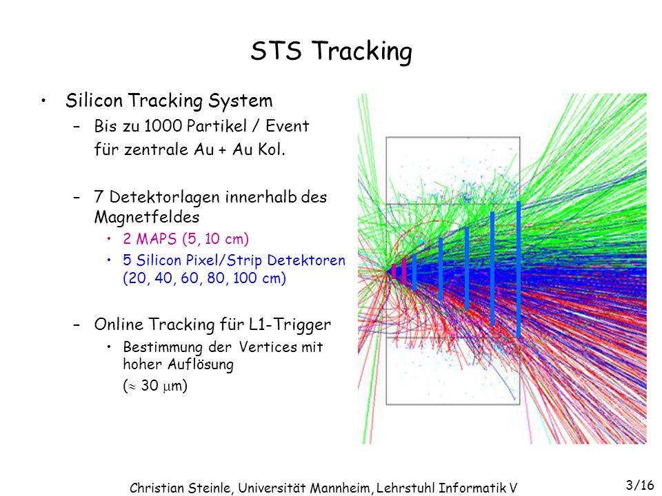STS Tracking Silicon Tracking System –Bis zu 1000 Partikel / Event für zentrale Au + Au Kol. –7 Detektorlagen innerhalb des Magnetfeldes 2 MAPS (5, 10