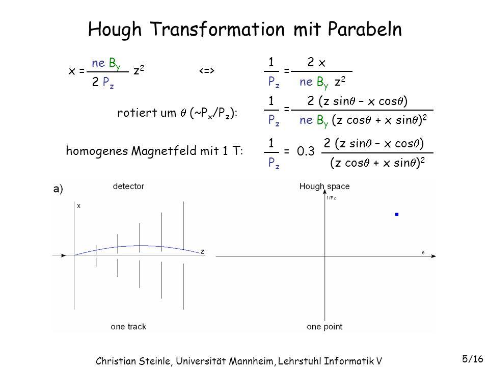 Hough Transformation mit Parabeln x = z 2 ne B y 2 P z = ne B y z 2 2 x PzPz 1 = ne B y (z cos + x sin ) 2 2 (z sin – x cos ) PzPz 1 = (z cos + x sin ) 2 2 (z sin – x cos ) PzPz 1 homogenes Magnetfeld mit 1 T: 0.3 rotiert um (~P x /P z ): 6/16 Christian Steinle, Universität Mannheim, Lehrstuhl Informatik V