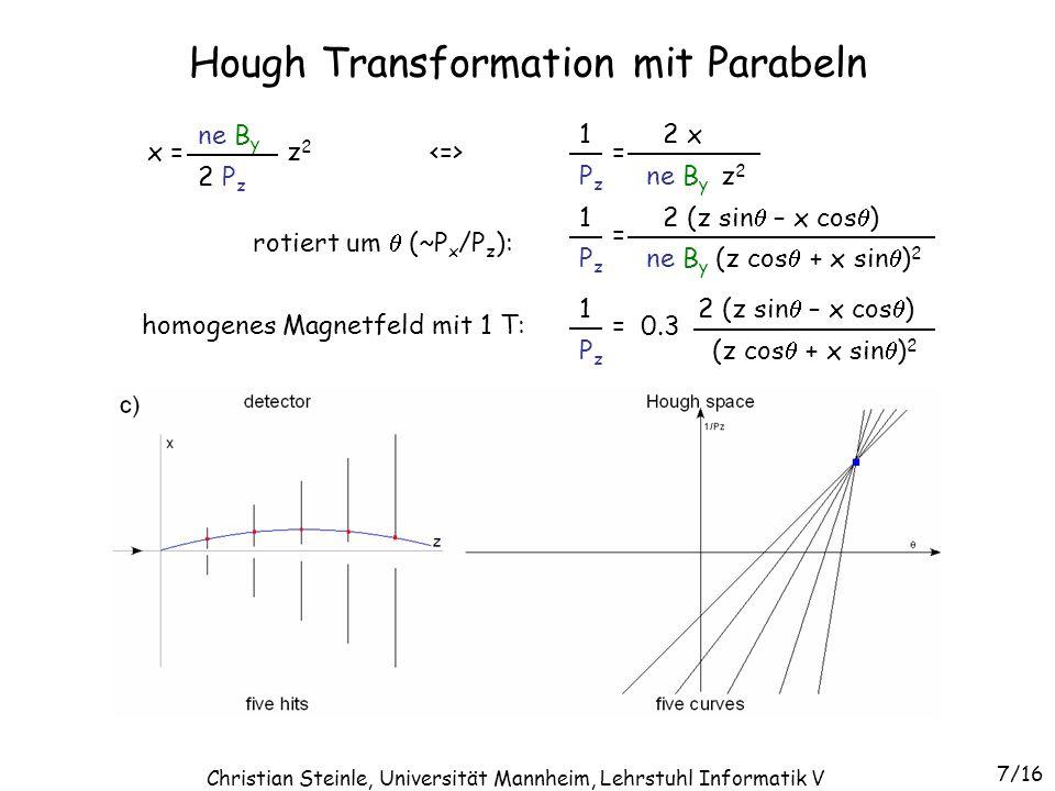 1 Dimension für 1 Parameter des Sets eines Tracks –Biegung 1/P z, Winkel (P x /P z ) and P y /P z ) –Detektor-Slice mit konstantem Winkel entspricht einem 2-D Hough Raum –Detektor-Slices sind überlappend (multiple scattering) 3-D Hough Transformation 8/16 Christian Steinle, Universität Mannheim, Lehrstuhl Informatik V
