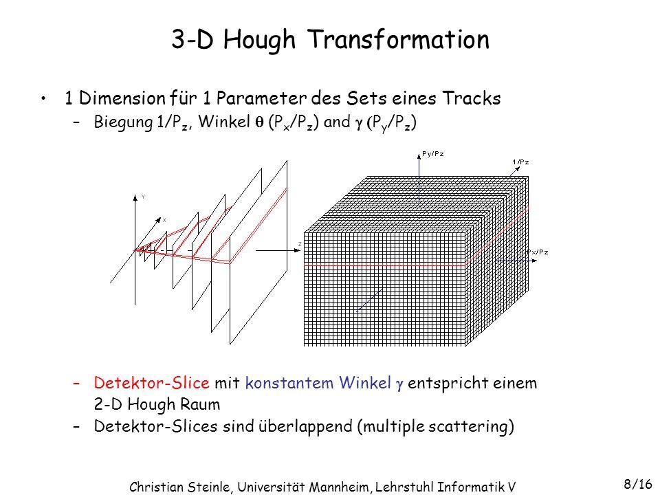 1 Dimension für 1 Parameter des Sets eines Tracks –Biegung 1/P z, Winkel (P x /P z ) and P y /P z ) –Detektor-Slice mit konstantem Winkel entspricht e