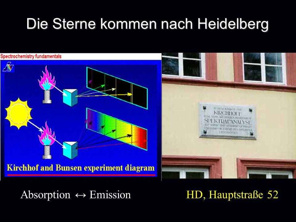 Die Sterne kommen nach Heidelberg Absorption Emission HD, Hauptstraße 52