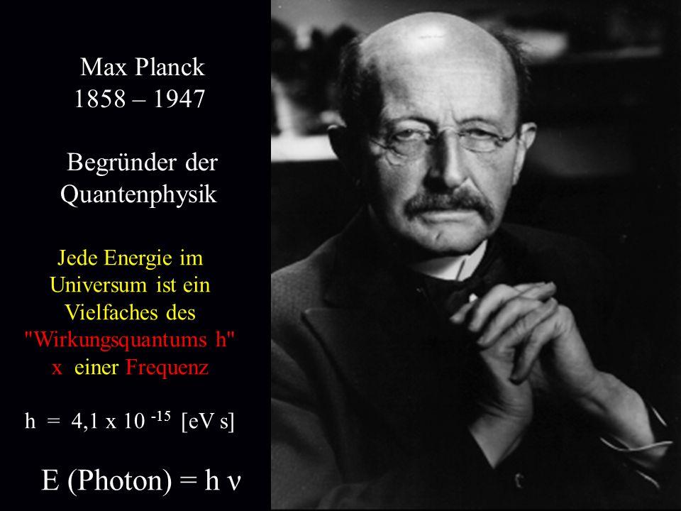 Max Planck 1858 – 1947 Begründer der Quantenphysik Jede Energie im Universum ist ein Vielfaches des