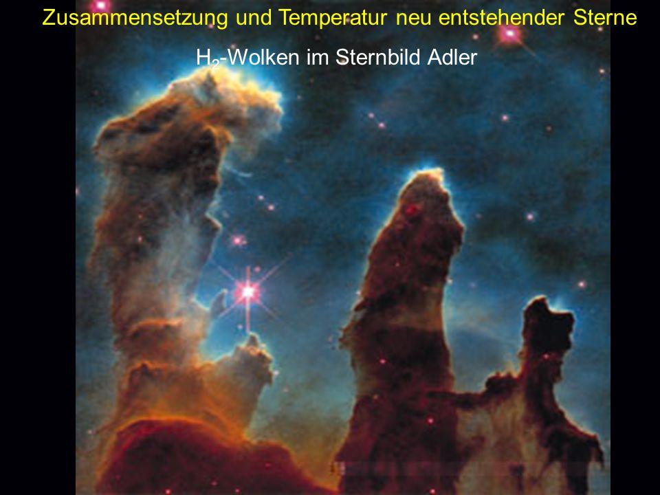 Zusammensetzung und Temperatur neu entstehender Sterne H 2 -Wolken im Sternbild Adler