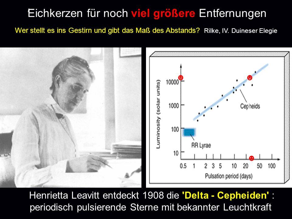 ' Eichkerzen für noch viel größere Entfernungen Henrietta Leavitt entdeckt 1908 die 'Delta - Cepheiden' : periodisch pulsierende Sterne mit bekannter