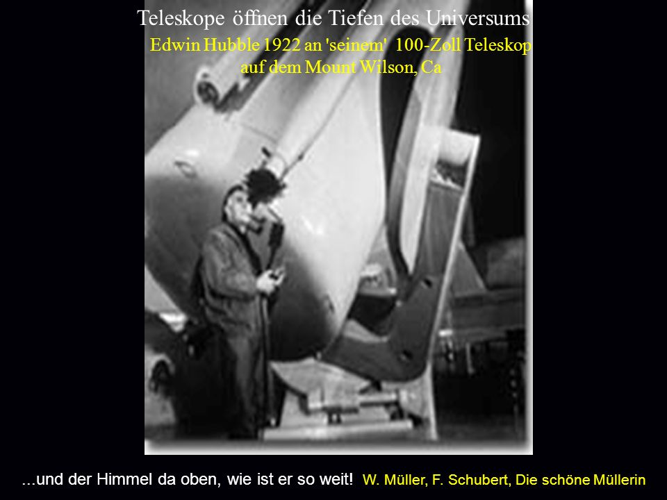 aaa Edwin Hubble 1922 an 'seinem' 100-Zoll Teleskop auf dem Mount Wilson, Ca Teleskope öffnen die Tiefen des Universums...und der Himmel da oben, wie