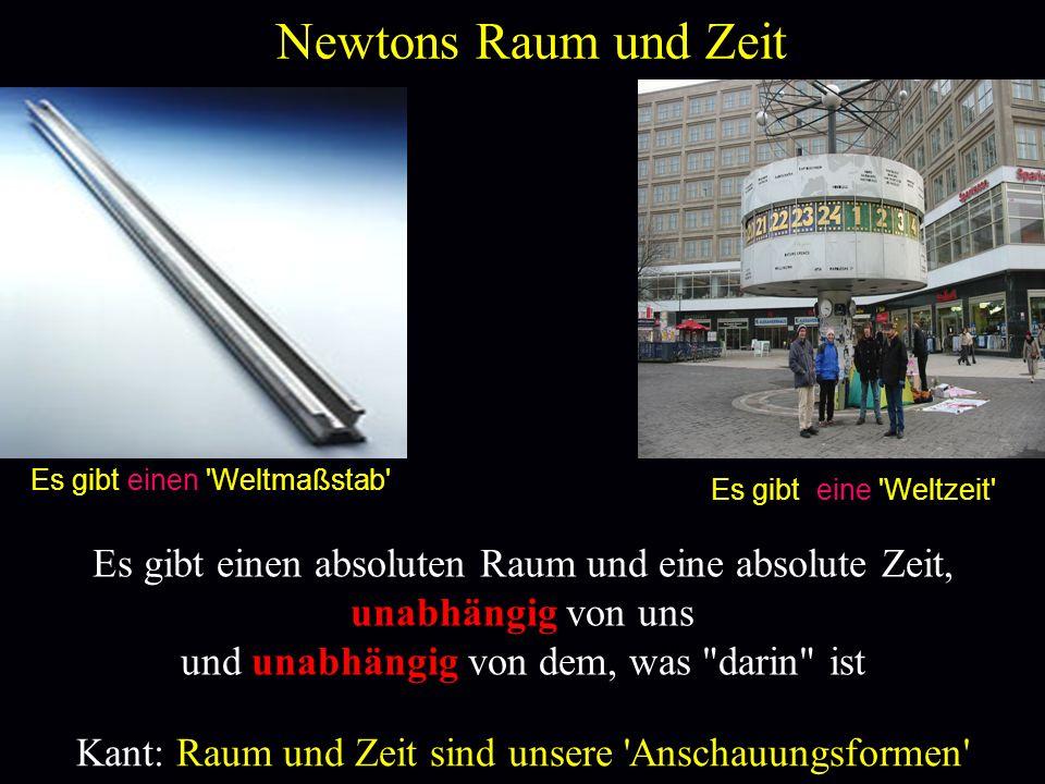 Newtons Raum und Zeit Es gibt einen 'Weltmaßstab' Es gibt eine 'Weltzeit' Alex in Berlin Kant: Raum und Zeit sind unsere 'Anschauungsformen' Es gibt e