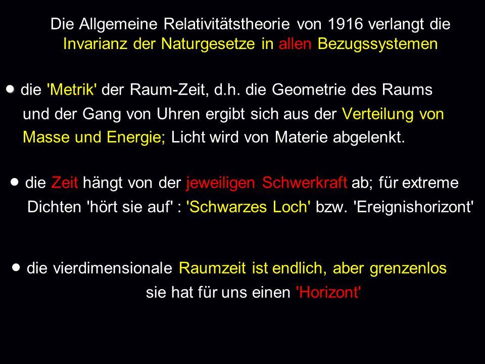 Die Allgemeine Relativitätstheorie von 1916 verlangt die Invarianz der Naturgesetze in allen Bezugssystemen die 'Metrik' der Raum-Zeit, d.h. die Geome